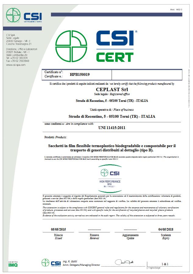 Nuova certificazione high performance bag